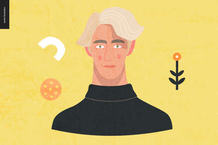 Beautiful people portrait - hand drawn flat style vector design concept illustration of a young blonde man, face and shoulders avatar with texture. Flat style vector icon