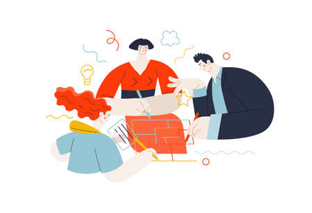 Business topics - project collaboration. Flat style modern outlined vector concept illustration. A group of people working on the project drawing it together. Business metaphor.