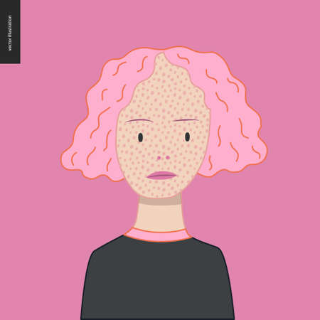 Bright characters portraits - hand drawn flat style vector design concept illustration of a smiling freckled pink-haired girl wearing black, face and shoulders avatar. Flat style vector icon 矢量图像