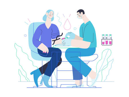 Medical tests illustration - blood test - modern flat vector concept digital illustration of blood test procedure - a patient and doctor with a syringe and test tubes, the medical office or laboratory Vettoriali