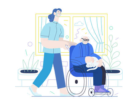 Medical insurance - senior home support - modern flat vector concept digital illustration -a nurse rolling a wheel chair with a senior patient at his home. Home medical service, part of insurance plan Vettoriali