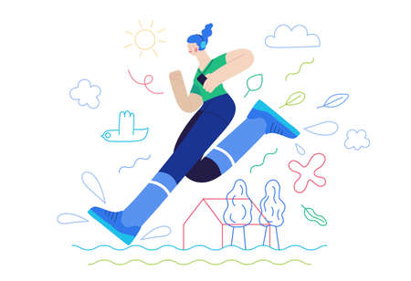 Business topics - competition. Flat style modern outlined vector concept illustration. Runner - a girl running in the park - a ginger young woman with headphones and a phone. Business metaphor. Vetores