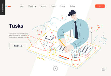 Business topics -tasks, web template, header. Flat style modern outlined vector concept illustration. Young man wearing a tie sitting at the office desk filling in the list of tasks. Business metaphor