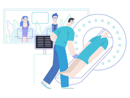 Medical tests illustration - MRT - magnetic resonance tomography - modern flat vector concept digital illustration of MRI procedure - a patient in the scanner and doctor, medical office or laboratory Vettoriali