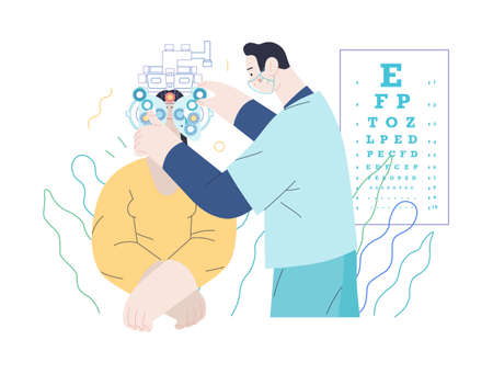 Medical tests template - c -modern flat vector concept digital illustration of eye test procedure -a female patient and a doctors with phoropter, ophthalmologic office