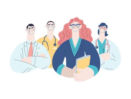 Medical insurance illustration -hospital administrator -modern flat vector concept digital illustration - a female hospital administrator with a team of doctors concept, medical office or laboratory Çizim