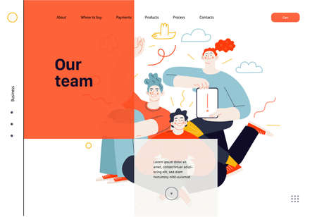 Business topics - our team, web template. Flat style modern outlined vector concept illustration. A group of people, crew, team, posing together. Business metaphor. Vettoriali