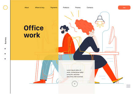 Business topics - office work, web template. Flat style modern outlined vector concept illustration. Man and woman sitting and working at the office desks with desktop computers. Business metaphor. Ilustrace