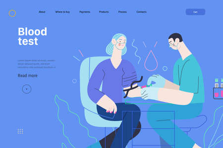 Medical tests illustration - blood test - modern flat vector concept digital illustration of blood test procedure - a patient and doctor with a syringe and test tubes, the medical office or laboratory Çizim