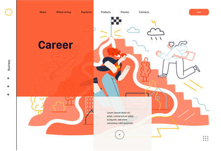 Business topics - career, web template, header. Flat style modern outlined vector concept illustration. People climbing the mountain. 矢量图像