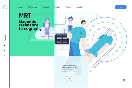 Medical tests illustration - MRT - magnetic resonance tomography - modern flat vector concept digital illustration of MRI procedure - a patient in the scanner and doctor, medical office or laboratory