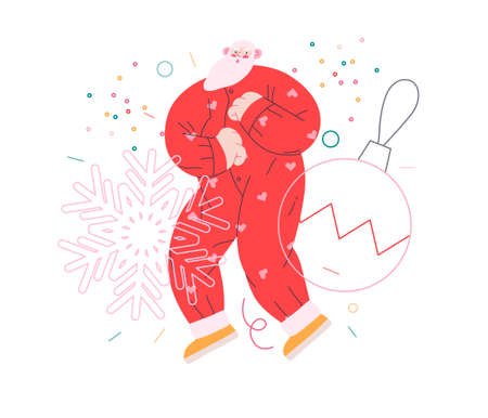 Dancing Santa - Christmas and New Year party - modern flat vector concept illustration of cheerful Santa Claus dancing wearing pajamas