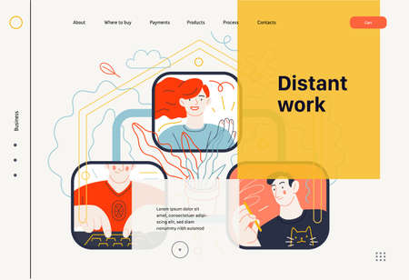 Business topics - distant work, web template, header. Flat style modern outlined vector concept illustration. Screens with video conference - three people talking about a project. Business metaphor.