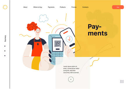Business topics -payment, web template, header. Flat style modern outlined vector concept illustration. Waitress holding pos-terminal. A customer paying with phone, scanning QR code. Business metaphor 矢量图像