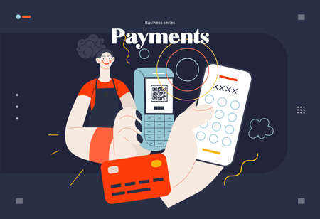 Business topics - payment, web template, header. Flat style modern outlined vector concept illustration. A waitress holding a pos-terminal. A customer paying with pin code on phone. Business metaphor. 矢量图像
