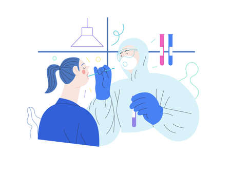 Medical tests illustration - testing for COVID-19 - modern flat vector illustration of coronavirus test procedure - a patient and doctor wearing protective suit and respirator, the medical laboratory 矢量图像