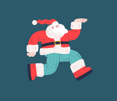 Dancing Santa - Christmas and New Year party - modern flat vector concept illustration of cheerful dancing Santa Claus