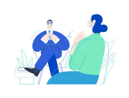 Medical insurance -psychological support -modern flat vector concept digital illustration of a therapist wearing glasses, taking session notes in notepad while female patient talking about her problem 矢量图像