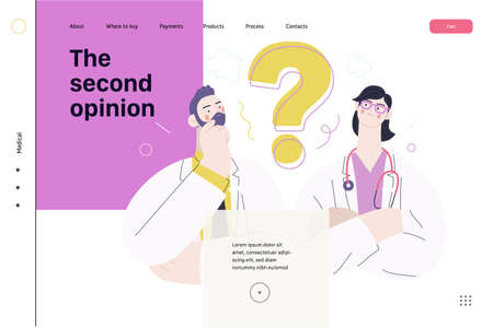 Medical insurance template -second opinion on a matter -modern flat vector concept digital illustration of two doctors and a question mark, second medical opinion metaphor, medical insurance plan 矢量图像