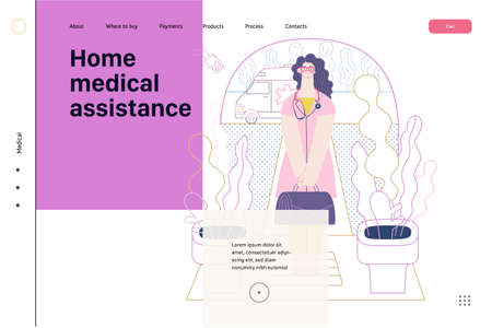 Medical insurance template -home medical assistance -modern flat vector concept digital illustration -nurse standing at the private residence entrance door Home medical service, part of insurance plan 矢量图像