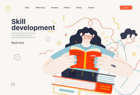 Business topics - advance training, education, skill development, web template. Flat style modern outlined vector concept illustration. Man and woman reading books. Business metaphor. 矢量图像