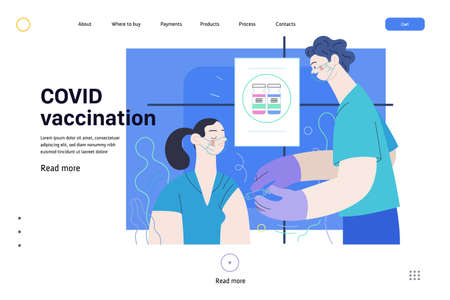 Medical insurance web page template- coronavirus COVID-19 vaccination -modern flat vector concept digital illustration of a therapist vaccinating a female patient, medical office or laboratory