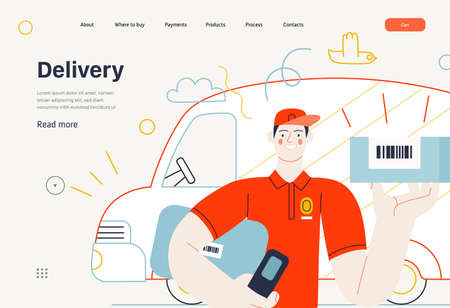 Business topics - shipping, web template. Flat style modern outlined vector concept illustration. A young man, delivery guy holding a parcel with barcode. Delivery truck behind. Business metaphor.