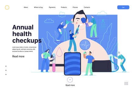 Annual health checkups -medical insurance web template -modern flat vector concept digital illustration -doctors examing male patient checking hearing, vision, heart, lungs, blood pressure, blood test 矢量图像