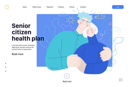 Medical insurance web page template -senior citizen health plan -modern flat vector concept digital illustration of a happy elderly embracing couple, medical insurance plan 矢量图像