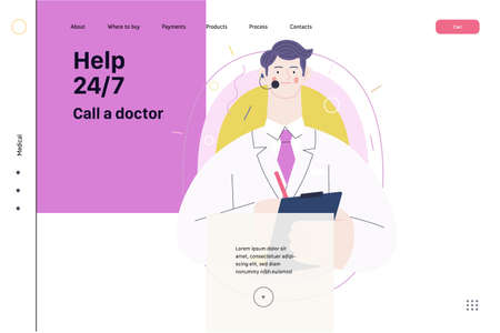 Medical insurance template -help 24 per 7, call us -modern flat vector concept digital illustration of male doctor with headset talking on the phone for a medical consultation. Medical company service 向量圖像