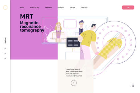Medical tests illustration - magnetic resonance tomography - modern flat vector concept digital illustration of mri procedure - a patient in the scanner and doctor, medical office or laboratory