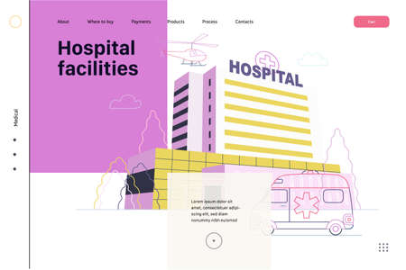 Medical insurance - hospital facilities and services - modern flat vector concept digital illustration - a hospital building with an ambulance car and a helicopter above, medical office or laboratory 矢量图像