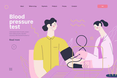 Medical tests template - blood pressure test - modern flat vector concept digital illustration of blood pressure measurement procedure - a patient and doctor with a meter, medical office or laboratory 矢量图像