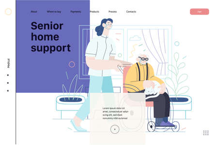 Medical insurance - senior home support - modern flat vector concept digital illustration -a nurse rolling a wheel chair with a senior patient at his home. Home medical service, part of insurance plan 向量圖像