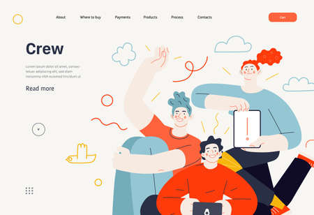 Business topics - our team, web template. Flat style modern outlined vector concept illustration. A group of people, crew, team, posing together. Business metaphor. 向量圖像