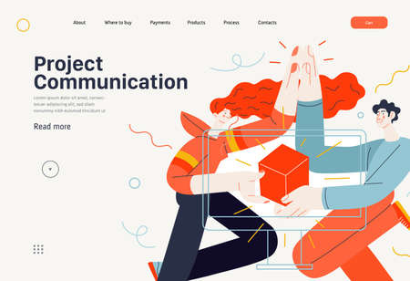 Business topics - project communication, web template. Flat style modern outlined vector concept illustration. A young man and woman giving five, holding a box together. Business metaphor.