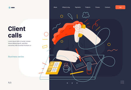 Business topics - client calls, web template. Flat style modern outlined vector concept illustration. A red-haired woman talking to a client by the phone at the office desk. Business metaphor.