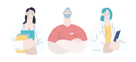 Medical insurance -best doctors -modern flat vector concept digital illustration - medical specialists - doctors and nurses portraits, team of doctors concept, medical office or laboratory