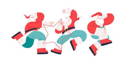 Dancing Santa - Christmas and New Year party - modern flat vector concept illustration of cheerful dancing Santa Claus