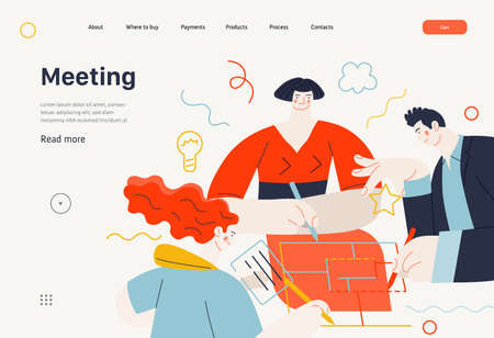 Business topics - project collaboration, web template. Flat style modern outlined vector concept illustration. A group of people working on the project drawing it together. Business metaphor. 向量圖像