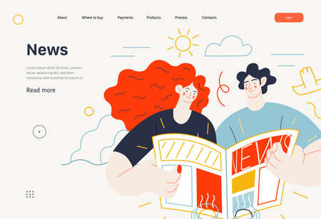 Business topics - news, web template, header. Flat style modern outlined vector concept illustration. A couple, man and woman reading a newspaper together. Business metaphor. 向量圖像