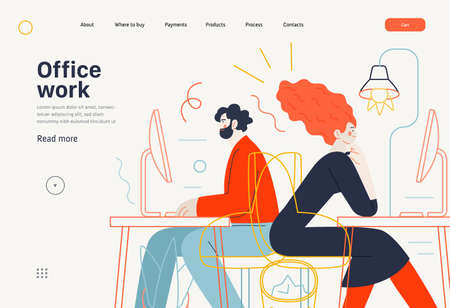 Business topics - office work, web template. Flat style modern outlined vector concept illustration. Man and woman sitting and working at the office desks with desktop computers. Business metaphor. 向量圖像