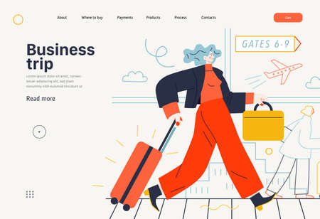 Business topics -business trip, web template, header. Flat style modern outlined vector concept illustration. Young woman with suitcase walking by the moving walkway in the airport. Business metaphor.