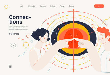 Business topics - connections, web template, header. Flat style modern outlined vector concept illustration. A young man and woman touching fingers, waves from the point. Business metaphor.