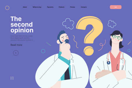 Medical insurance template -second opinion on a matter -modern flat vector concept digital illustration of two doctors and a question mark, second medical opinion metaphor, medical insurance plan 向量圖像