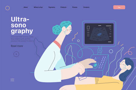 Medical tests illustration - ultrasound - modern flat vector concept digital illustration of ultrasonography procedure -doctor examing patient pregnant woman with scanner, medical office or laboratory