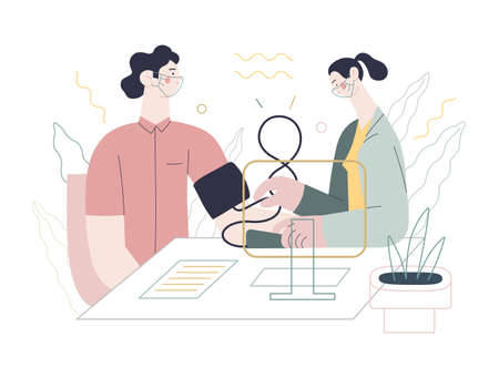 Medical tests template - blood pressure test - modern flat vector concept digital illustration of blood pressure measurement procedure - a patient and doctor with a meter, medical office or laboratory 向量圖像