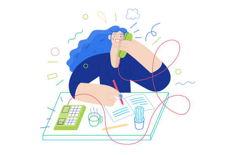 Business topics - client calls. Flat style modern outlined vector concept illustration. A red-haired woman talking to a client by the phone at the office desk. Business metaphor.