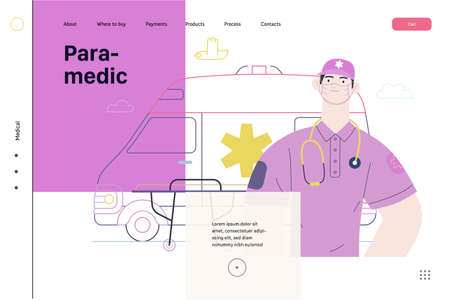 Medical insurance template -ambulance transport and emergency evacuation -modern flat vector concept digital illustration of a male paramedic and ambulance van. Medical service and insurance