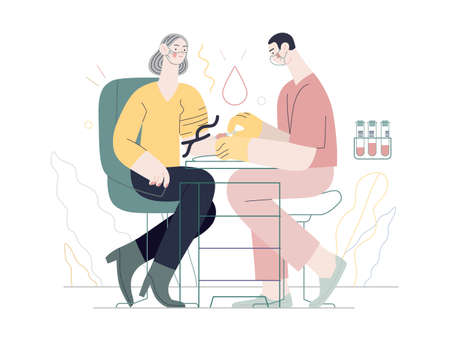 Medical tests illustration - blood test - modern flat vector concept digital illustration of blood test procedure - a patient and doctor with a syringe and test tubes, the medical office or laboratory 向量圖像